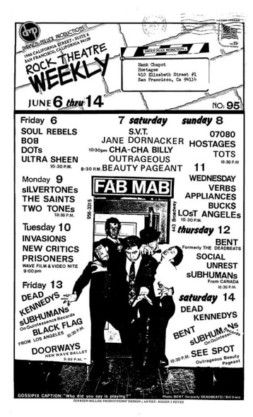 Announcement mailing from Fab Mab, Mabuhay Gardens, with long list of bands, including The Appliances, Dead Kennedys, Social Unrest, Black Flag, and the Silvertones