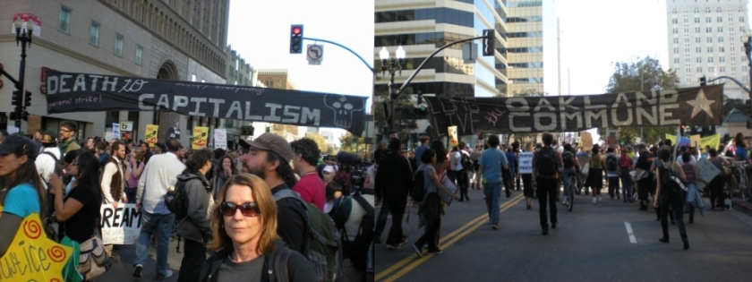 Occupy Oakland General Strike, November 2, 2011, crowd, banner reads: Death to Capitalism, Long Live the Oakland Commune