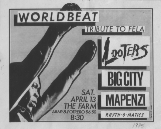 Ad for World Beat Tribute to Fela, The Farm, San Francisco, April 13, 1985, with image of Fela, both fists in the air